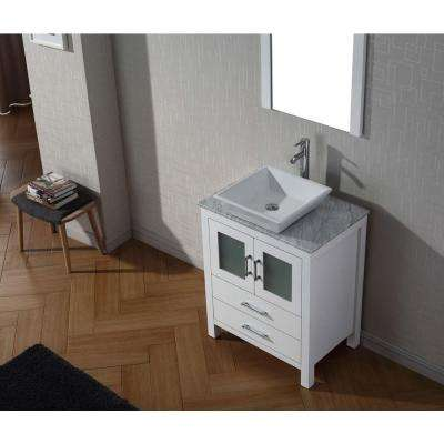 Dior 29 in. W Bath Vanity in White with Marble Vanity Top in White with Square Basin and Mirror and Faucet