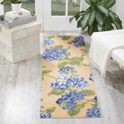 Sun and Shade Yellow Blue 2 ft. x 6 ft. Indoor/Outdoor Runner Rug