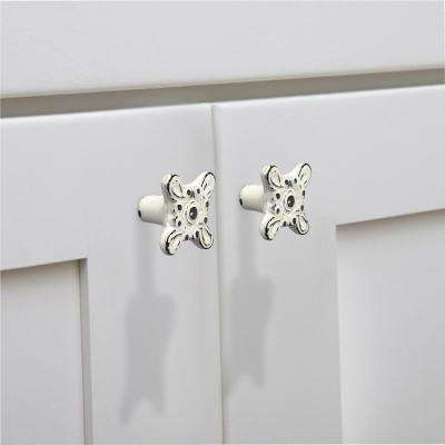 Art-De-Dew 1-2/5 in. (35 mm) Distressed White Patina Cabinet Knob