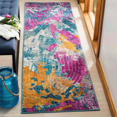Madison Blue/Multi 2 ft. 3 in. x 8 ft. Runner Rug