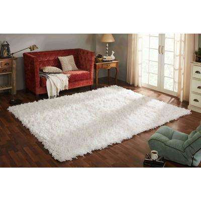 Comfy Shag White 7 ft. x 9 ft. Area Rug