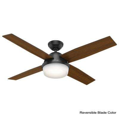 Dempsey 52 in. LED Indoor/Outdoor Matte Black Ceiling Fan with Light