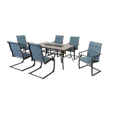 Crestridge 7-Piece Steel Padded Sling Outdoor Patio Dining Set in Conley Denim