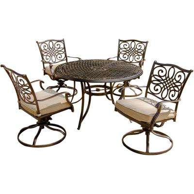 Traditions 5-Piece Aluminum Round Outdoor Dining Set with Swivel Chairs, Protective Cover and Natural Oat Cushions