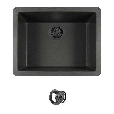 All-in-One Dualmount Quartz 22 in. Single Bowl Kitchen Sink in Black