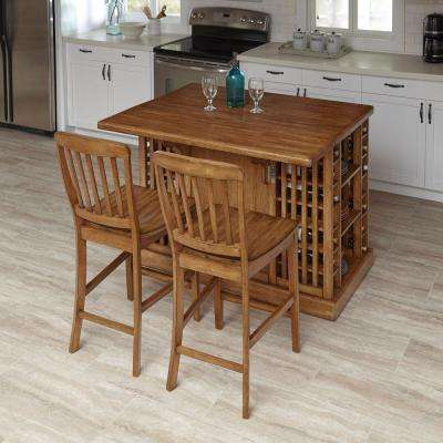 Vintner 48.25 in. W Wood Kitchen Island with 2 Stools in Warm Oak