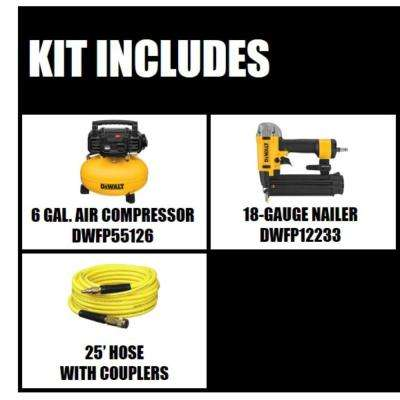 6 Gal. 18-Gauge Brad Nailer and Heavy-Duty Pancake Electric Air Compressor Combo Kit (1-Tool)