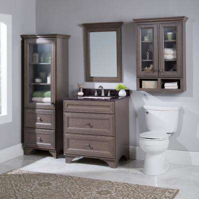 Albright 31 in. W x 35 in. H x 22 in. D Vanity in Winter with Stone Effects Vanity Top in Tan Brown with White Sink