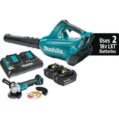 18-Volt X2 36-Volt LXT Lithium-Ion Brushless Cordless Blower Kit 5.0Ah and 4-1/2 in. Paddle Switch Cut-Off/Angle Grinder