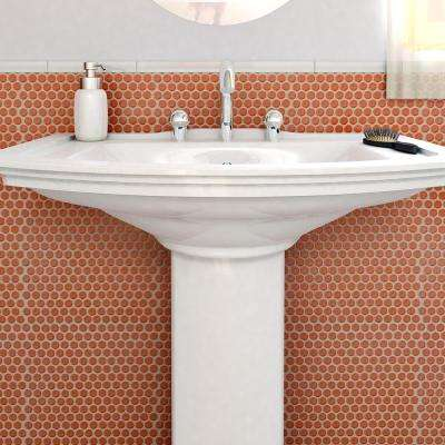 Hudson Penny Round Vermilio 12 in. x 12-5/8 in. x 5 mm Porcelain Mosaic Tile (10.74 sq. ft. / case)