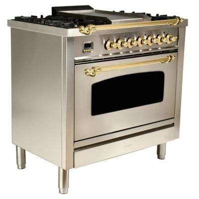 36 in. 3.55 cu. ft. Single Oven Dual Fuel Italian Range True Convection,5 Burners, LP Gas, Brass Trim/Stainless Steel