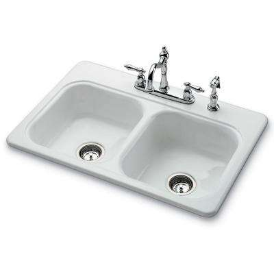 Garnet II Top Mount Porcelain 22 in. 4-Hole Self Rimming Double Bowl Kitchen Sink in White