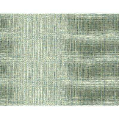 8 in. x 10 in. Woven Summer Green Grid Wallpaper Sample