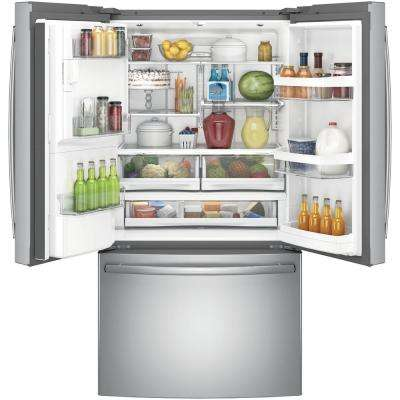 36 in. W 27.8 cu. ft. French Door Refrigerator in Stainless Steel, ENERGY STAR
