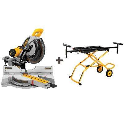 15-Amp 12 in. Sliding Miter Saw with Bonus Rolling Miter Saw Stand