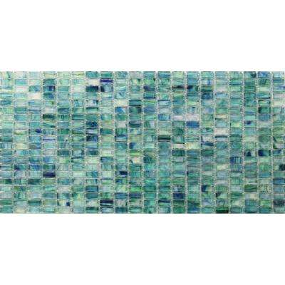 Breeze Caribbean Ocean Stained Glass Mosaic Floor and Wall Tile - 3 in. x 6 in. Tile Sample