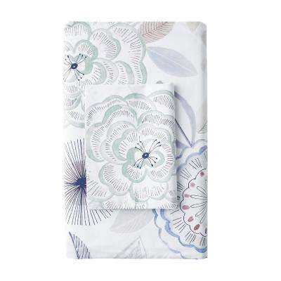 Piper Floral Cotton Percale 300-Thread Count Flat Sheet