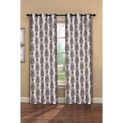 Semi-Opaque Meridith Printed Faux Silk Grommet Curtain Panel