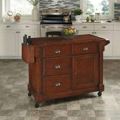 The Aspen Wood Top Kitchen Cart in Cherry