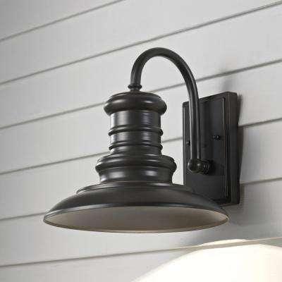 Redding Station 1-Light Restoration Bronze Outdoor 12.5 in. Integrated LED Wall Lantern Sconce