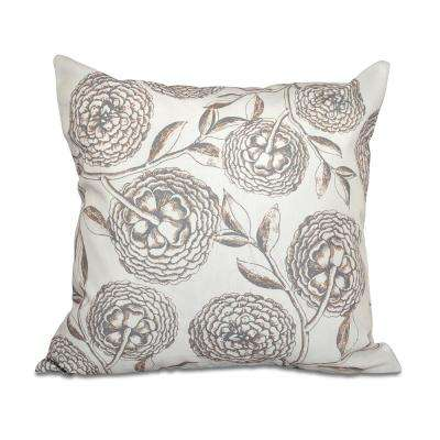 16 x 16-inch, Antique Flowers, Floral Print Pillow, Taupe (Beige)