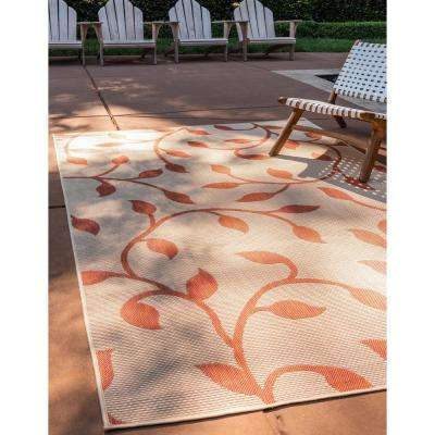 Outdoor Botanical Terracotta 9' 0 x 12' 0 Area Rug