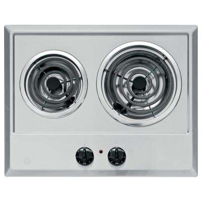 GE 21 in. Coil Electric Cooktop in Stainless Steel with 2 Elements GE