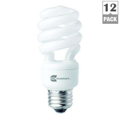 60W Equivalent Soft White Spiral CFL Light Bulbs (12-Pack)