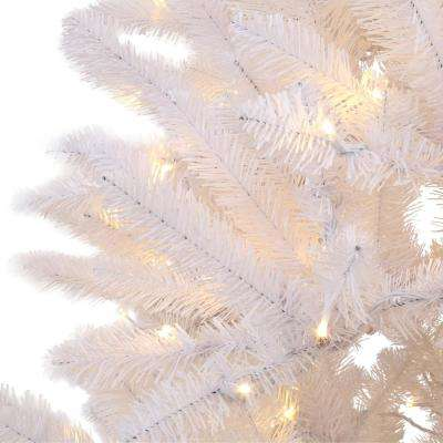 6 ft. Pre-Lit White Fraser Artificial Christmas Tree with Warm White and Multi-Color-Changing LED Lights