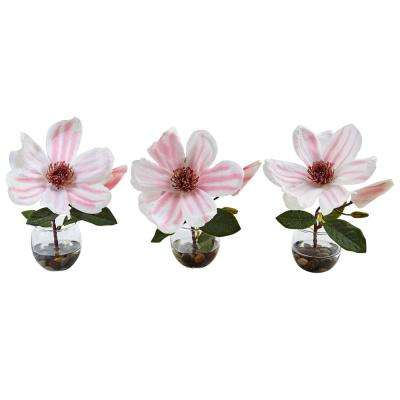 Indoor Magnolia Silk Arrangement in Votive Glass Vases (Set of 3)