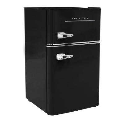 Retro 3.2 Cu. Ft. 2 door Mini Refrigerator in Black