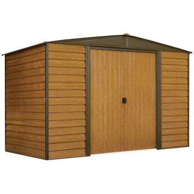 Woodridge 10 ft. W x 6 ft. D Wood-grain Galvanized Metal Storage Building