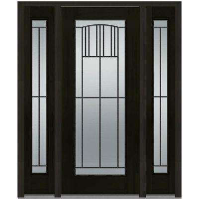64.5 in. x 81.75 in. Madison Decorative Glass Full Lite Finished Fiberglass Mahogany Exterior Door with Sidelites