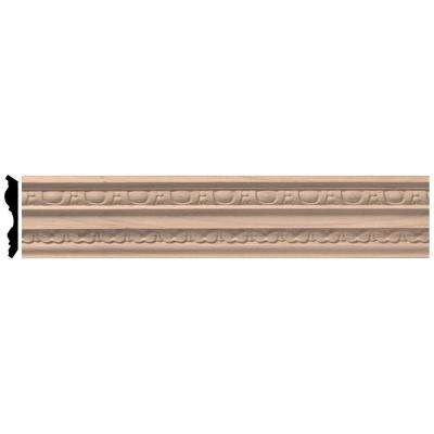 2-1/4 in. x 96 in. x 3 in. Unfinished Wood Cherry Bedford Carved Crown Moulding
