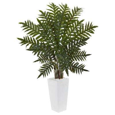 Indoor Evergreen Artificial Plant in White Tower Planter