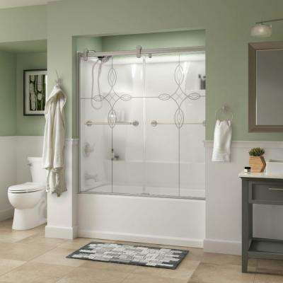 Silverton 60 in. x 58-3/4 in. Semi-Frameless Contemporary Sliding Bathtub Door in Nickel with Tranquility Glass