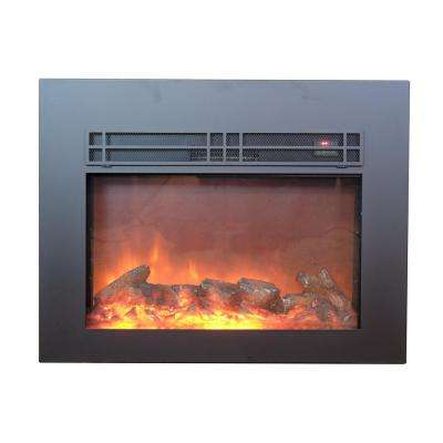 True Flame 24 in. Electric Fireplace Insert in Sleek Black with Surround