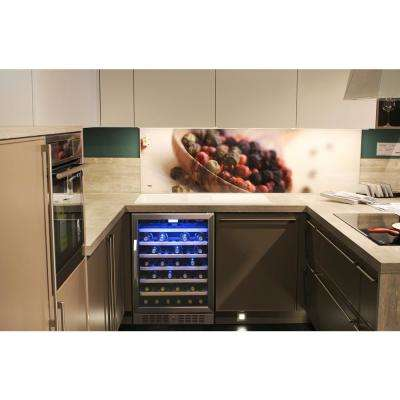 Premium Single Zone 52-Bottle Built-In Freestanding Fridge Under Counter Refrigerator Wine Cooler - Stainless Steel