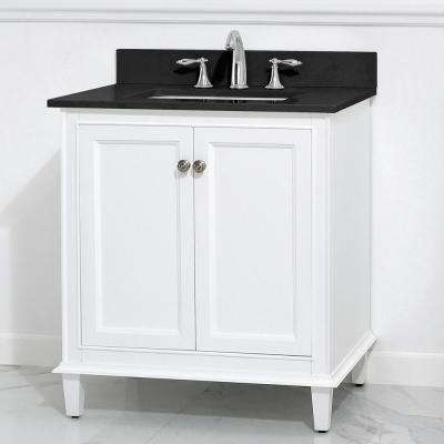 Riverpine 31 in. W x 22 in. D Vanity in White with Granite Vanity Top in Black with White Sink