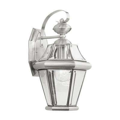Wall-Mount 1-Light Outdoor Brushed Nickel Incandescent Lantern