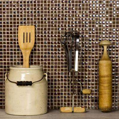 Petite Brown Grid Mosaic 0.375 in. x 0.375 in. Glass Mesh Mounted Wall & Floor Tile (0.98 Sq. ft.)