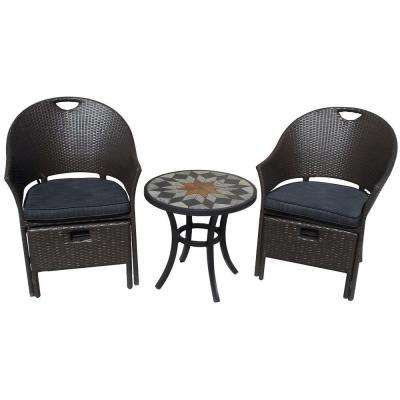 Campeche 5-Piece All-Weather Wicker Patio Bistro Set with Charcoal Cushions