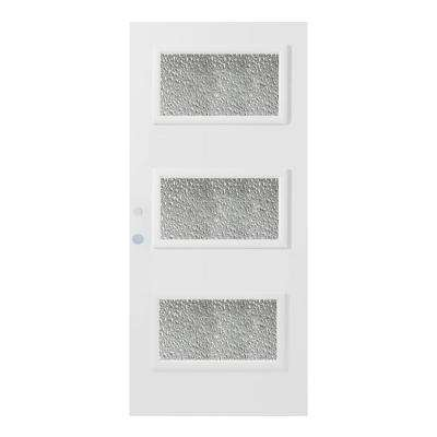 36 in. x 80 in. Dorothy Diamond 3 Lite Painted White Right-Hand Inswing Steel Prehung Front Door