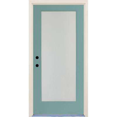36 in. x 80 in. Elite Surf Satin Etch Glass Contemporary Full Lite Painted Fiberglass Prehung Front Door