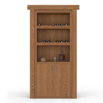 36 in. x 80 in. Flush Mount Assembled Oak Natural Stained Left-Hand Outswing Wine Rack Door