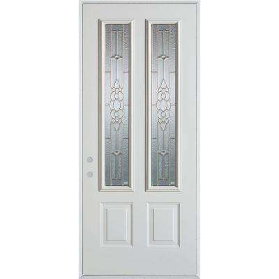 32 in. x 80 in. Traditional Brass 2 Lite 2-Panel Painted White Right-Hand Inswing Steel Prehung Front Door