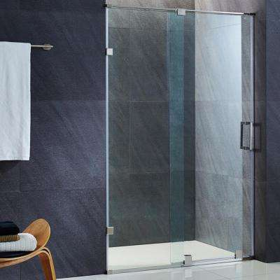 Ryland 64 in. x 71.5 in. Semi-Framed Sliding Shower Door in Stainless Steel with 3/8 in. Clear Glass