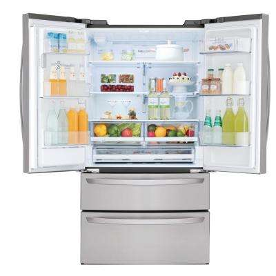 28 cu. ft. 4-Door French Door Smart Refrigerator with Wi-Fi Enabled in Stainless Steel