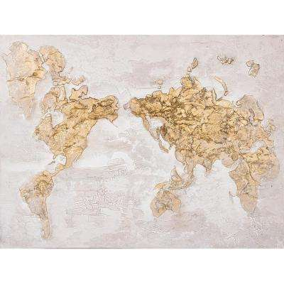 36 in. H x 48 in. W Map in Gold Artwork in Canvas
