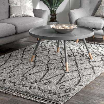 Valinda Moroccan Transitional Shag Gray 5 ft. x 8 ft.  Area Rug